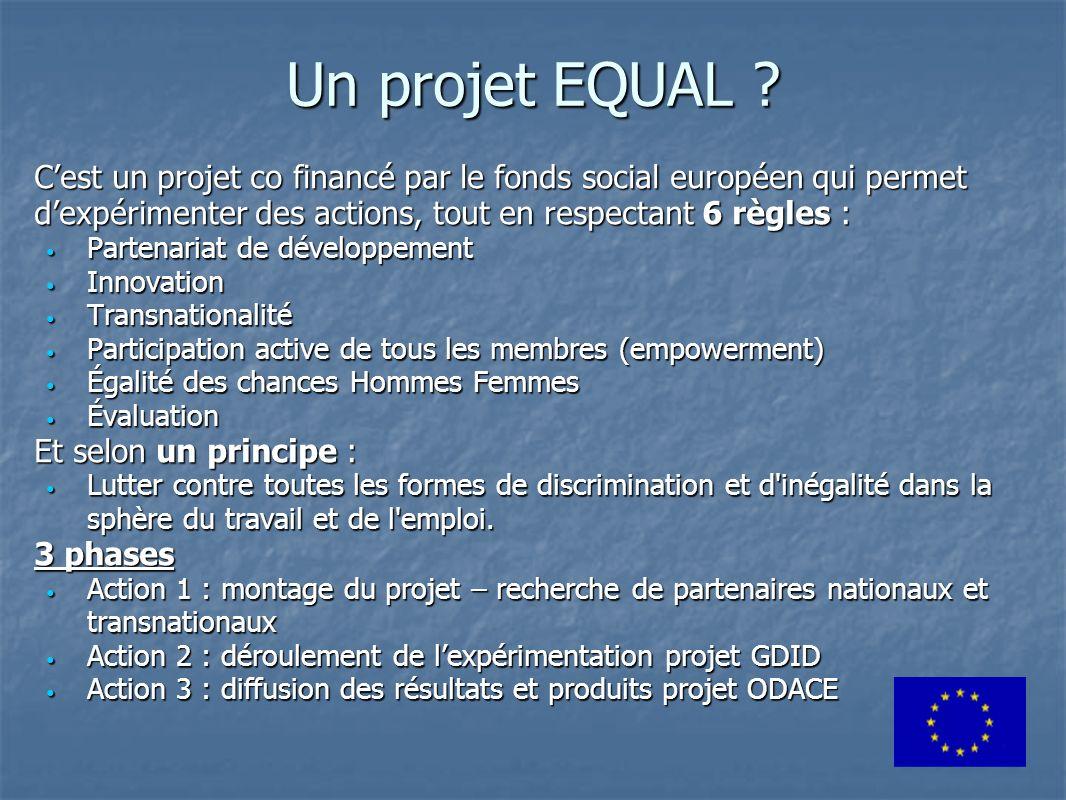 Un projet EQUAL C'est un projet co financé par le fonds social européen qui permet d'expérimenter des actions, tout en respectant 6 règles :