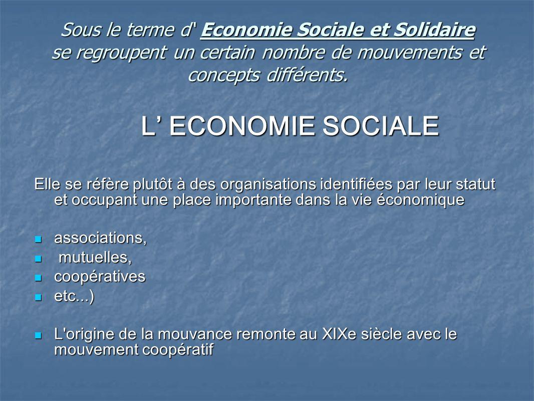 Sous le terme d' Economie Sociale et Solidaire se regroupent un certain nombre de mouvements et concepts différents.