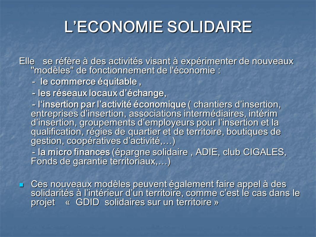 L'ECONOMIE SOLIDAIRE Elle se réfère à des activités visant à expérimenter de nouveaux modèles de fonctionnement de l économie :