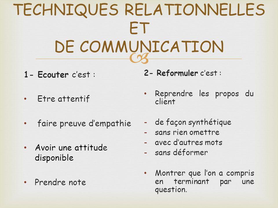 TECHNIQUES RELATIONNELLES ET DE COMMUNICATION