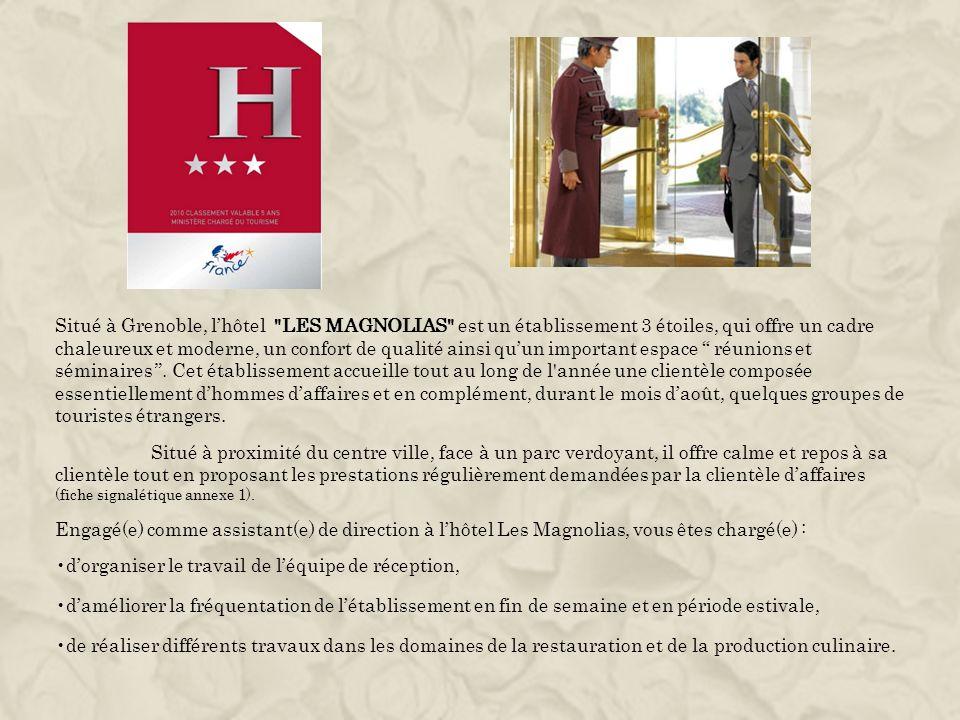 Situé à Grenoble, l'hôtel LES MAGNOLIAS est un établissement 3 étoiles, qui offre un cadre chaleureux et moderne, un confort de qualité ainsi qu'un important espace réunions et séminaires . Cet établissement accueille tout au long de l année une clientèle composée essentiellement d'hommes d'affaires et en complément, durant le mois d'août, quelques groupes de touristes étrangers.