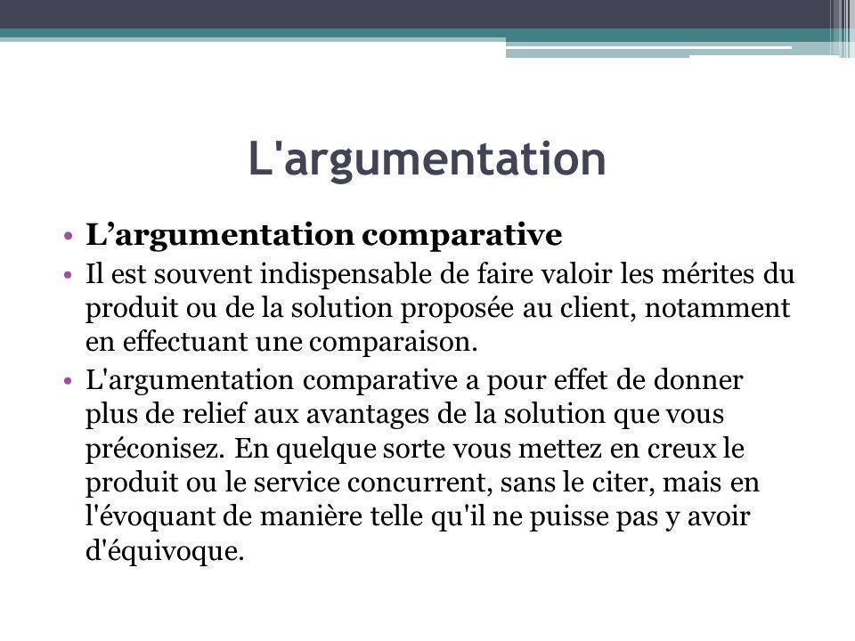 L argumentation L'argumentation comparative