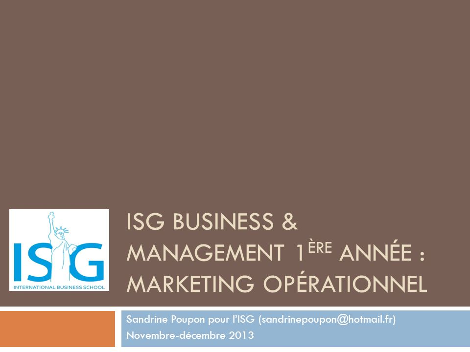 ISG Business & Management 1ère année : Marketing Opérationnel