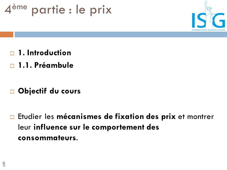 4ème partie : le prix 1. Introduction 1.1. Préambule Objectif du cours