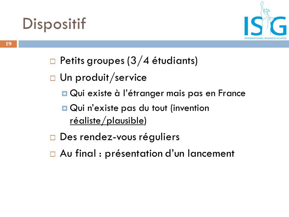 Dispositif Petits groupes (3/4 étudiants) Un produit/service