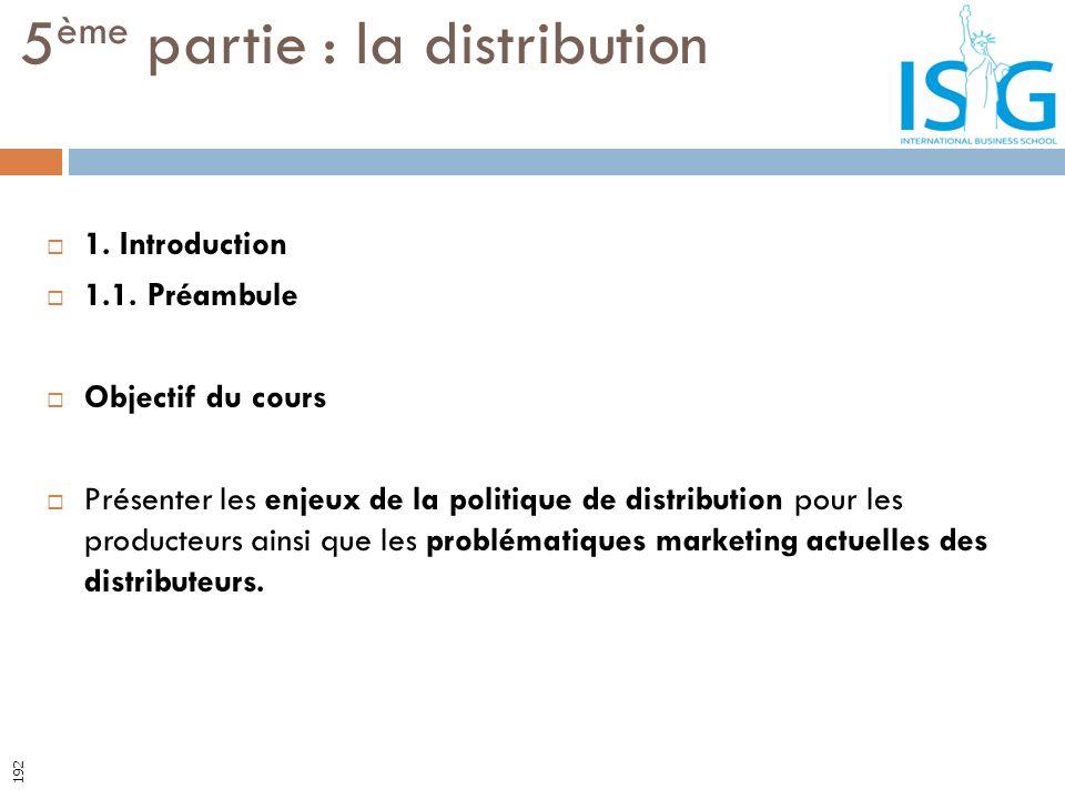 5ème partie : la distribution