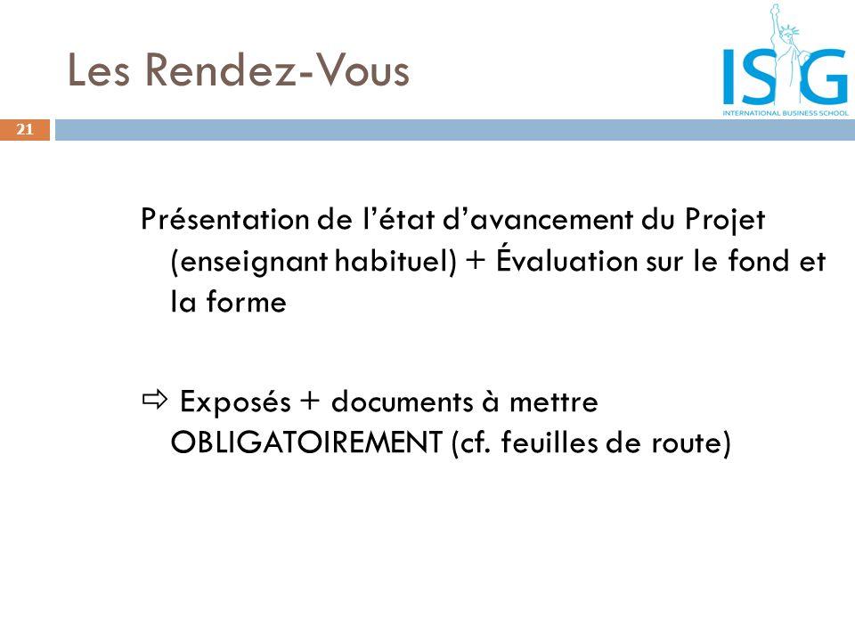 Les Rendez-Vous Présentation de l'état d'avancement du Projet (enseignant habituel) + Évaluation sur le fond et la forme.
