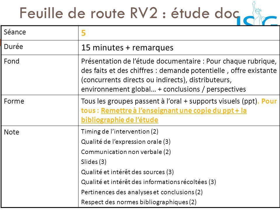Feuille de route RV2 : étude doc