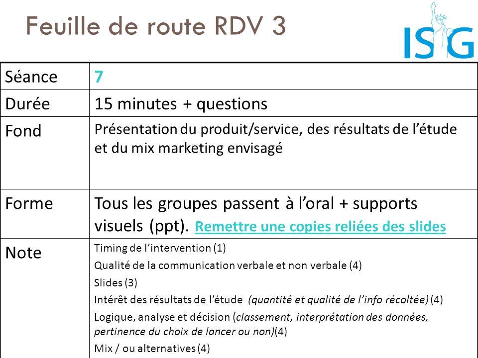 Feuille de route RDV 3 Séance 7 Durée 15 minutes + questions Fond