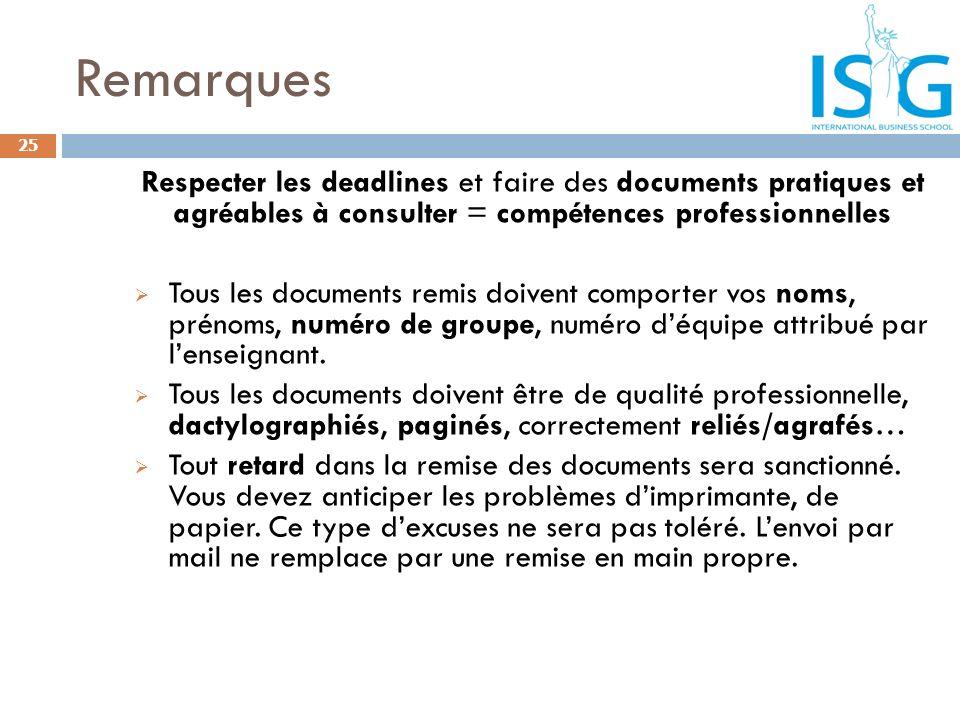 Remarques Respecter les deadlines et faire des documents pratiques et agréables à consulter = compétences professionnelles.