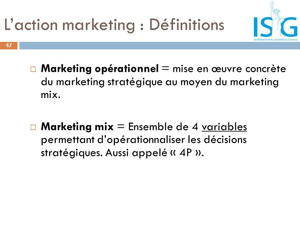 L'action marketing : Définitions