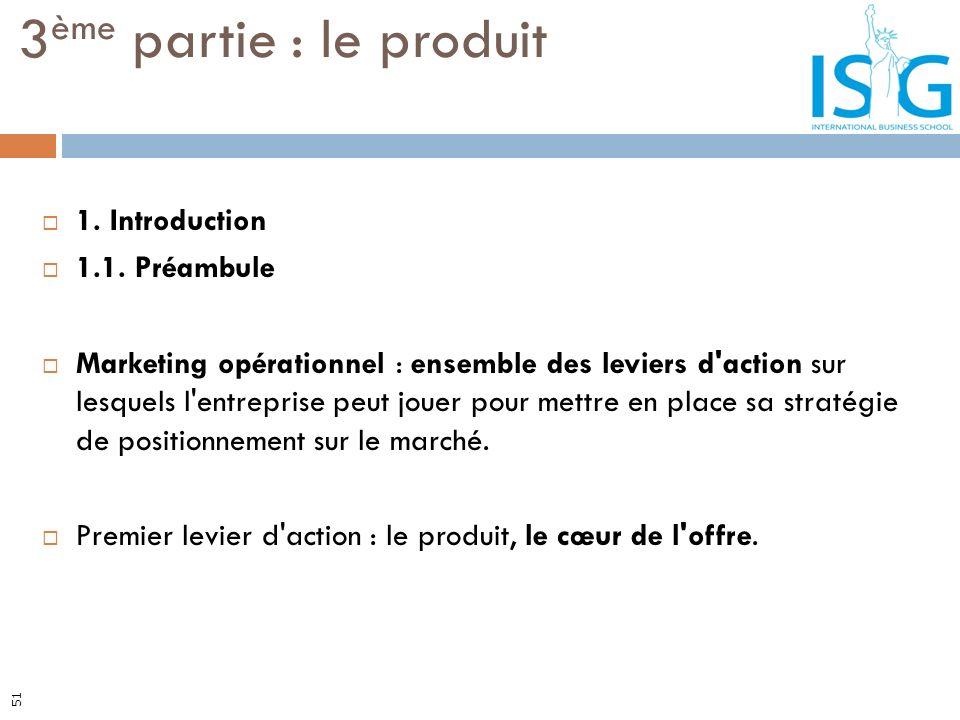 3ème partie : le produit 1. Introduction 1.1. Préambule