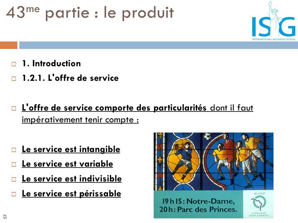 43me partie : le produit 1. Introduction 1.2.1. L offre de service