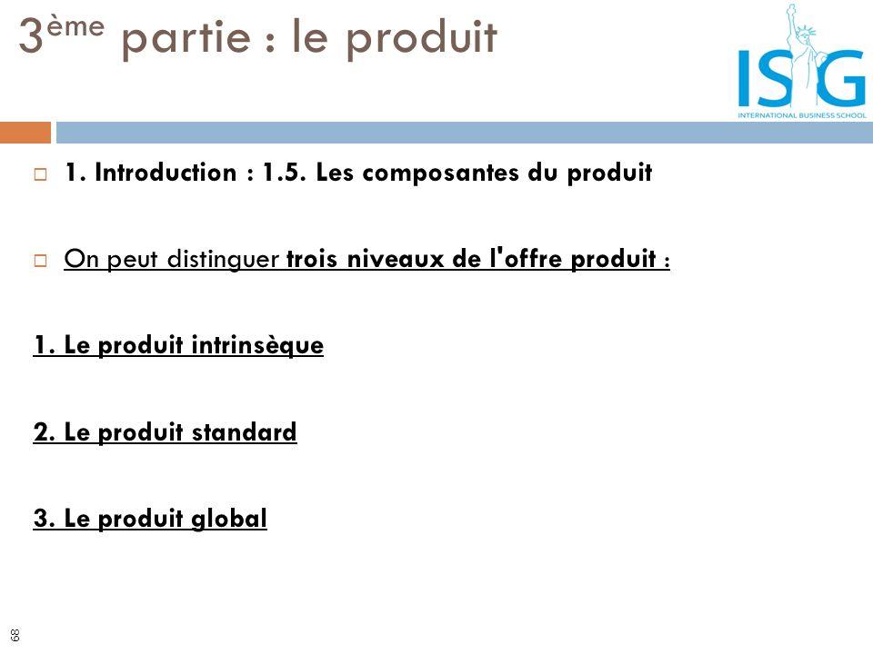 3ème partie : le produit 1. Introduction : 1.5. Les composantes du produit. On peut distinguer trois niveaux de l offre produit :