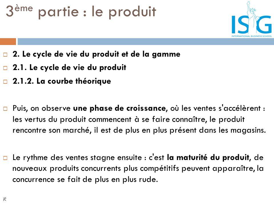 3ème partie : le produit 2. Le cycle de vie du produit et de la gamme