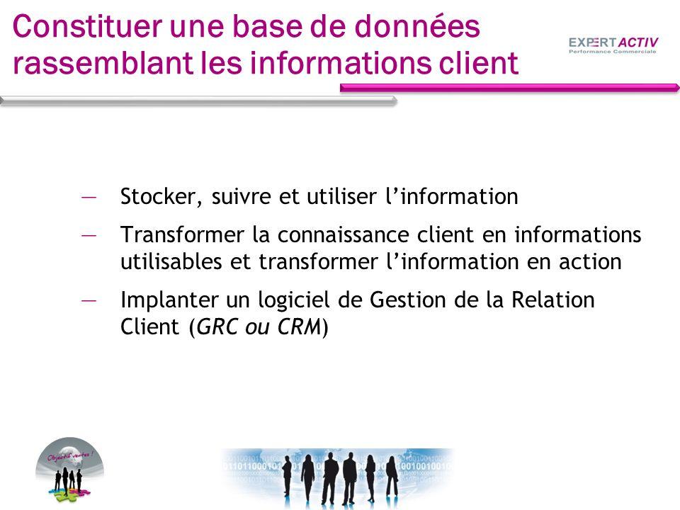 Constituer une base de données rassemblant les informations client