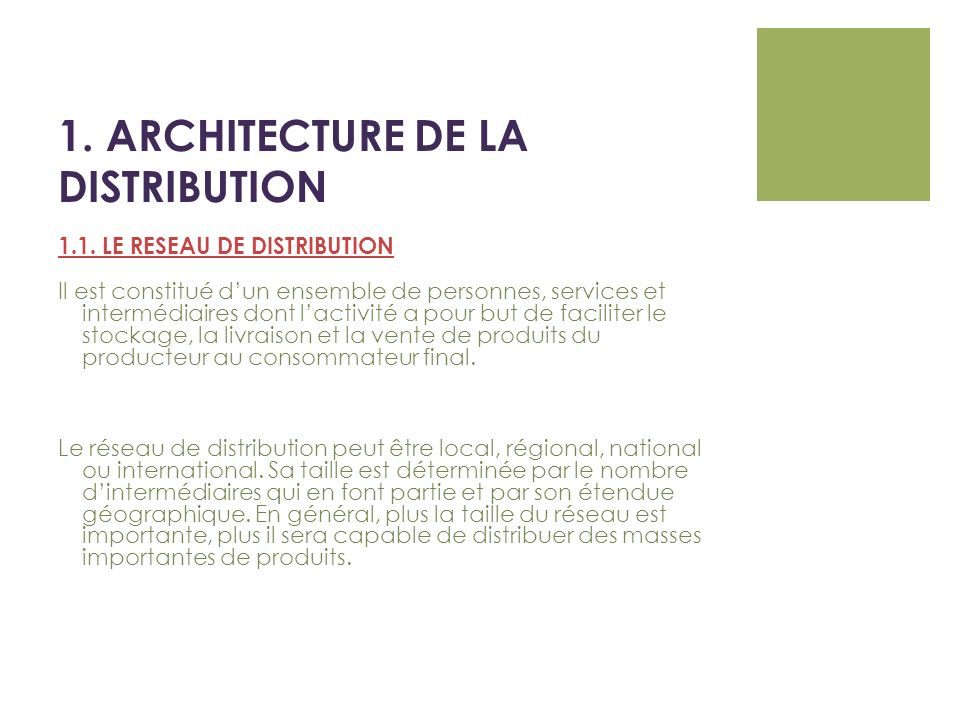 1. ARCHITECTURE DE LA DISTRIBUTION