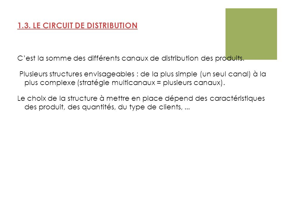 1.3. LE CIRCUIT DE DISTRIBUTION