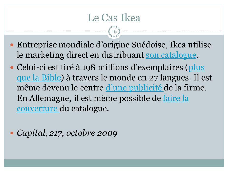 Le Cas Ikea Entreprise mondiale d'origine Suédoise, Ikea utilise le marketing direct en distribuant son catalogue.