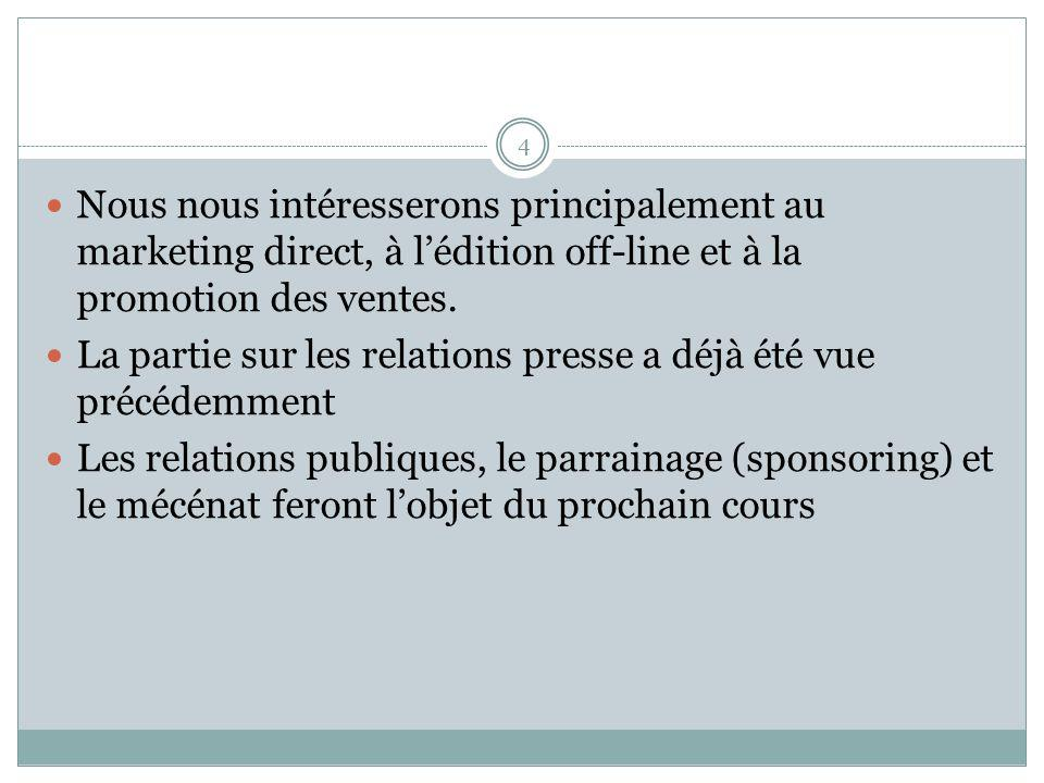 Nous nous intéresserons principalement au marketing direct, à l'édition off-line et à la promotion des ventes.