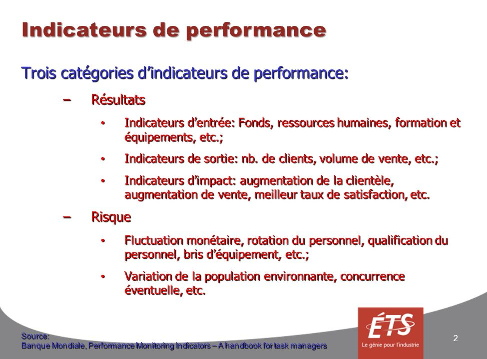 Indicateurs de performance