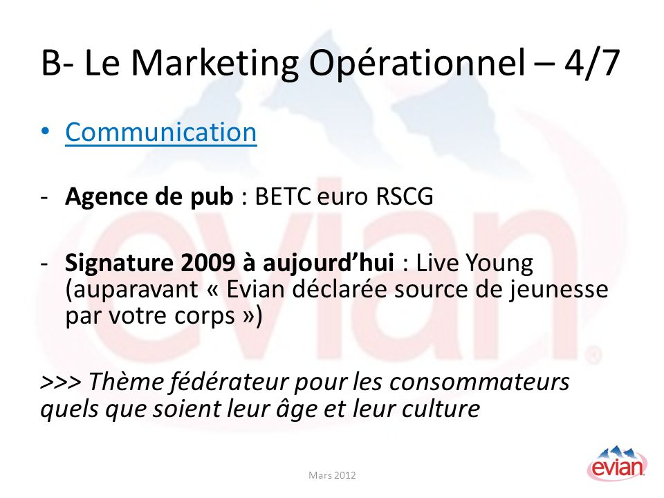 B- Le Marketing Opérationnel – 4/7