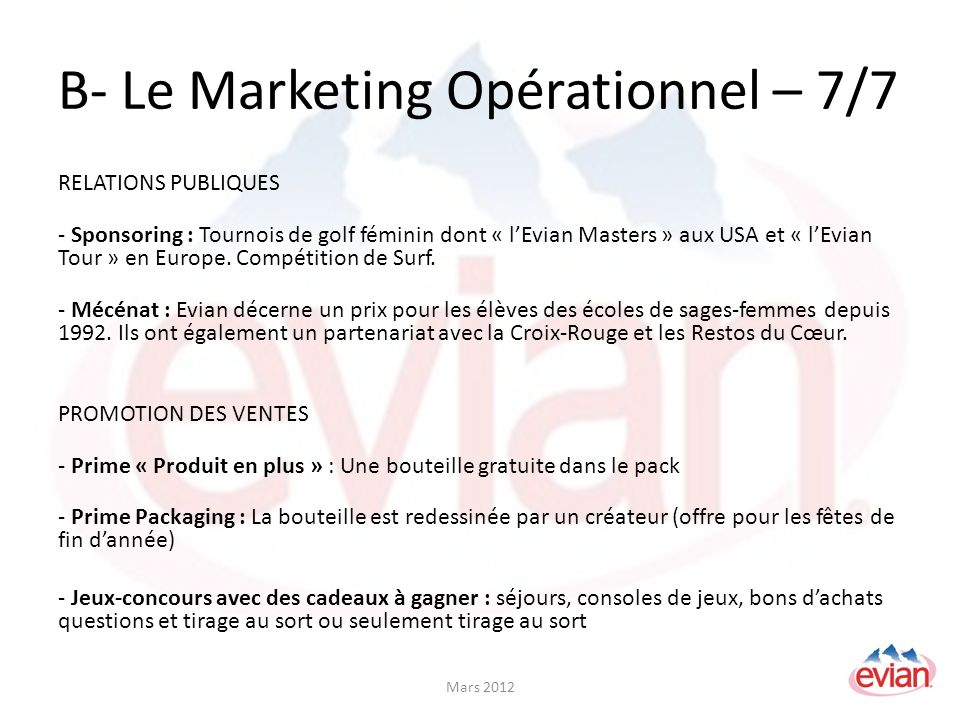 B- Le Marketing Opérationnel – 7/7