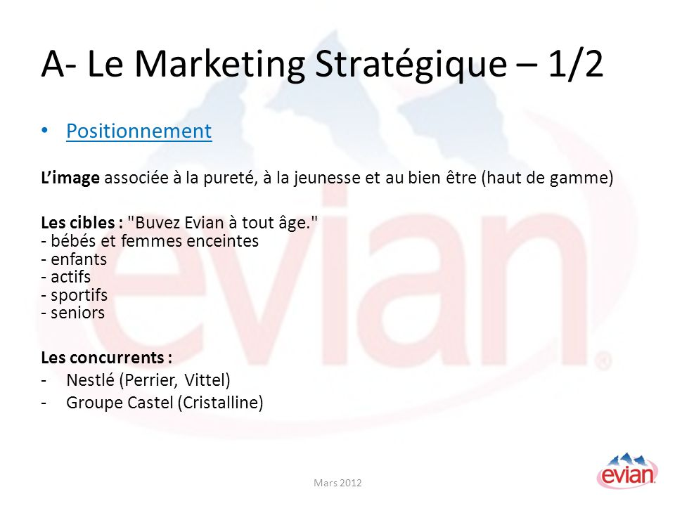 A- Le Marketing Stratégique – 1/2