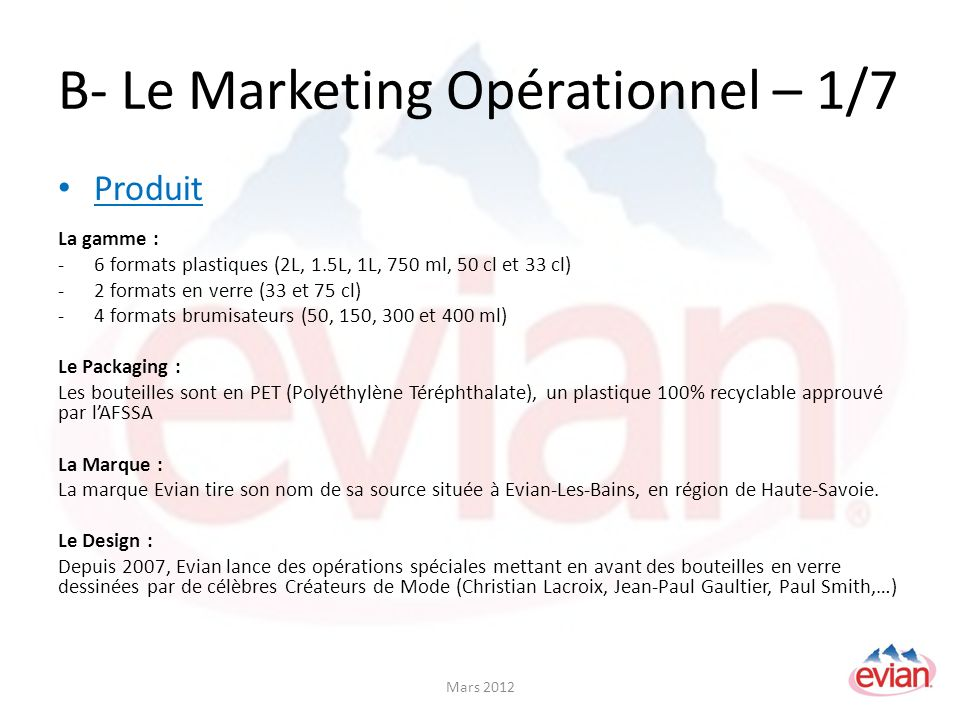 B- Le Marketing Opérationnel – 1/7