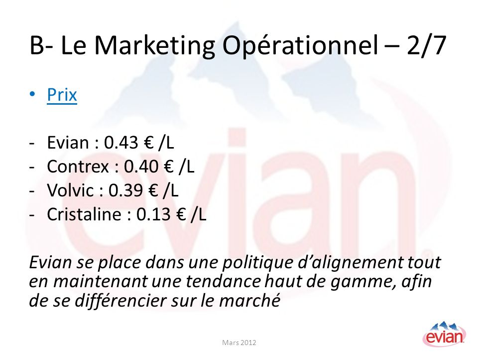 B- Le Marketing Opérationnel – 2/7