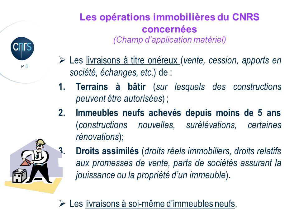 Les opérations immobilières du CNRS concernées (Champ d'application matériel)