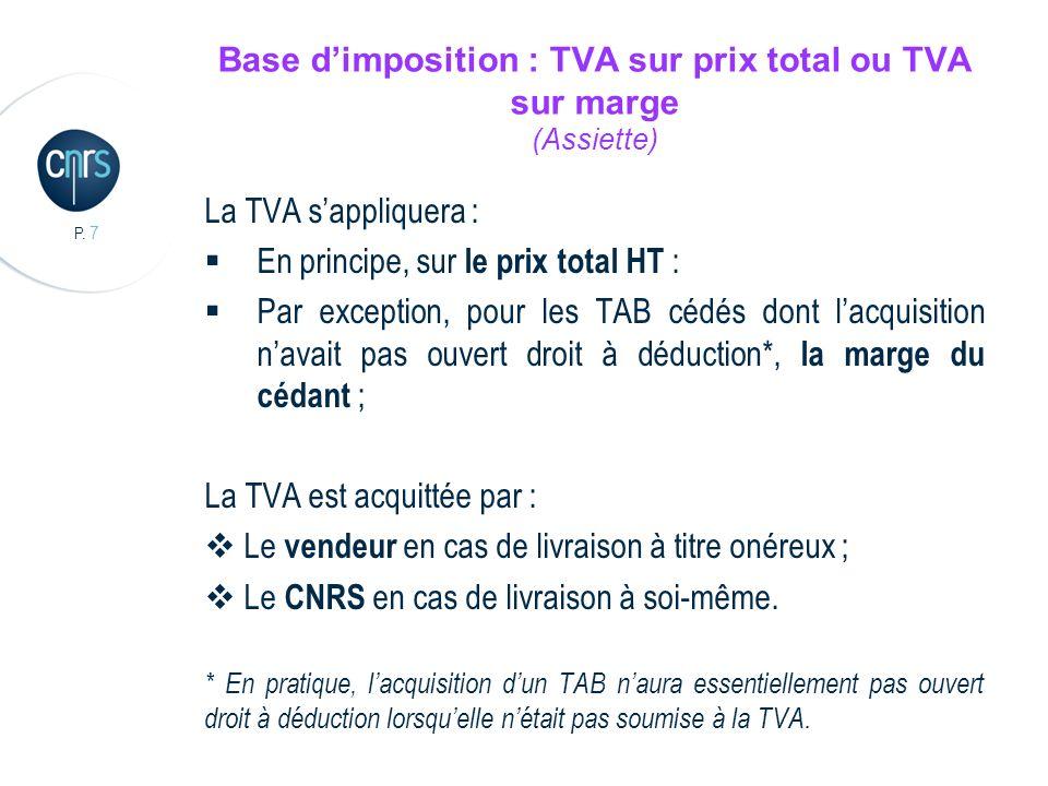 Base d'imposition : TVA sur prix total ou TVA sur marge (Assiette)