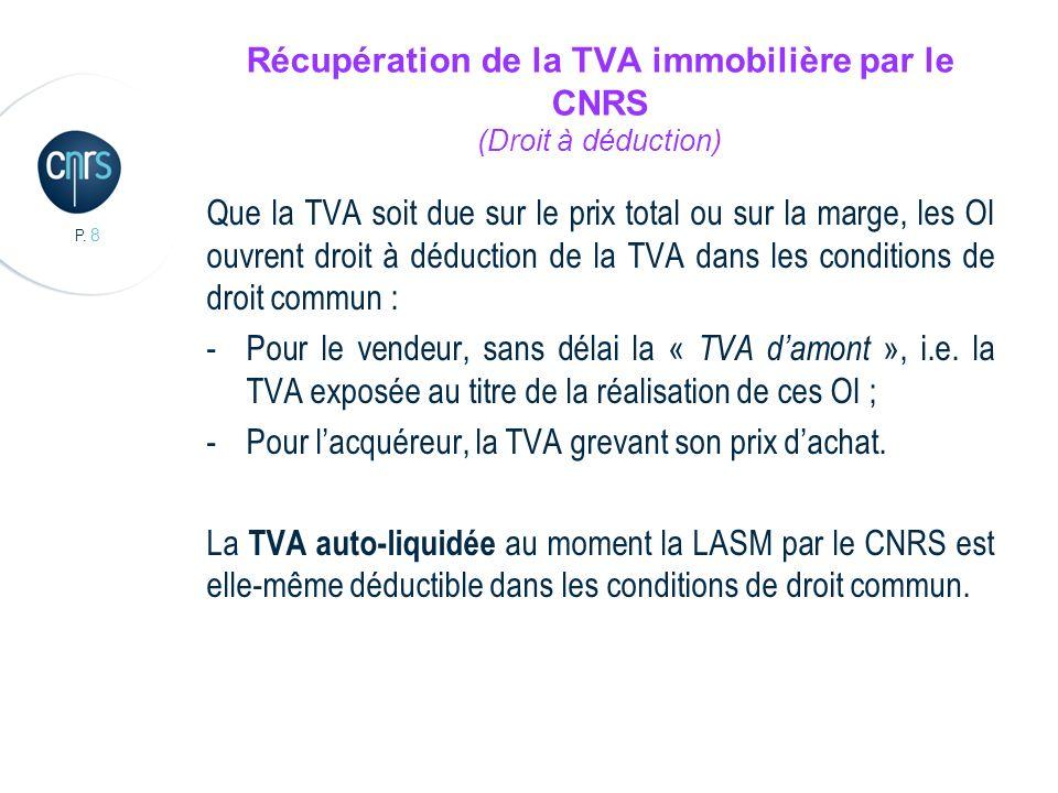 Récupération de la TVA immobilière par le CNRS (Droit à déduction)