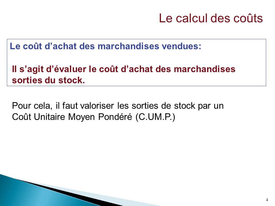Le calcul des coûts Le coût d'achat des marchandises vendues: