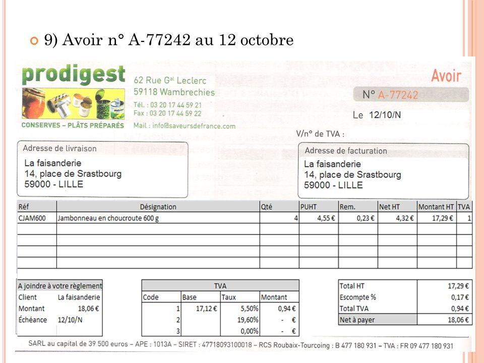 9) Avoir n° A-77242 au 12 octobre