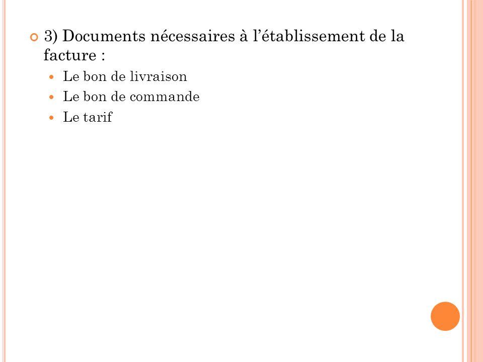 3) Documents nécessaires à l'établissement de la facture :