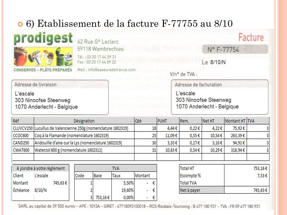 6) Etablissement de la facture F-77755 au 8/10