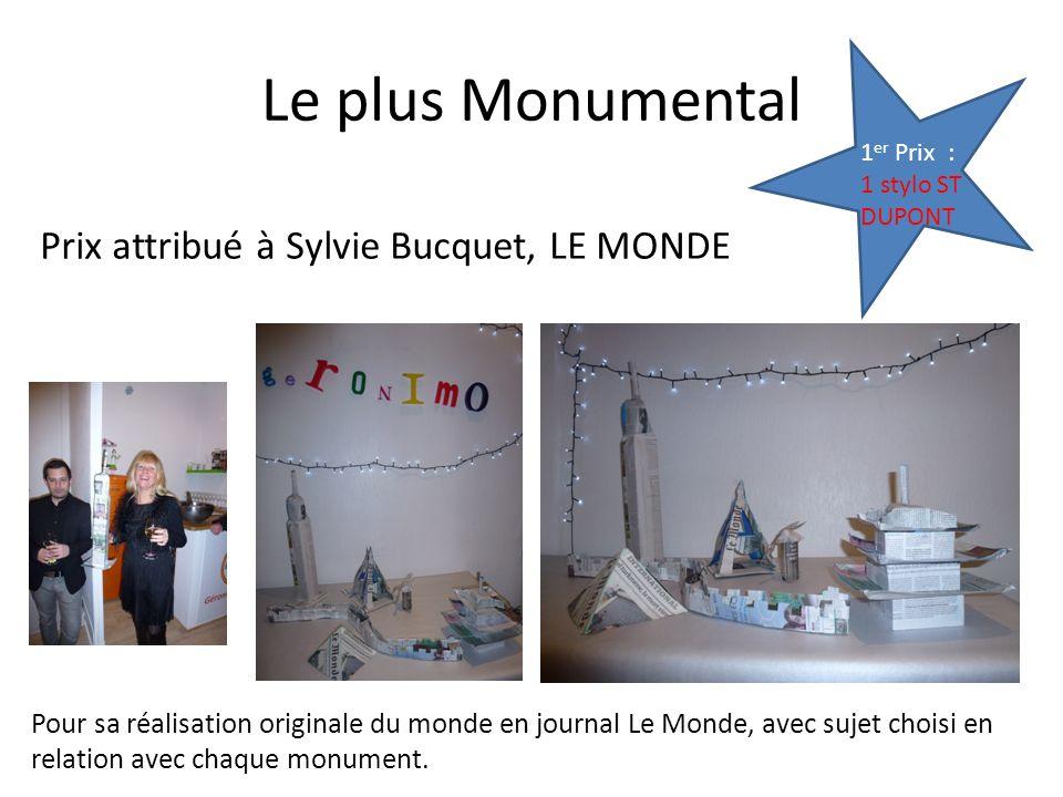 Le plus Monumental Prix attribué à Sylvie Bucquet, LE MONDE