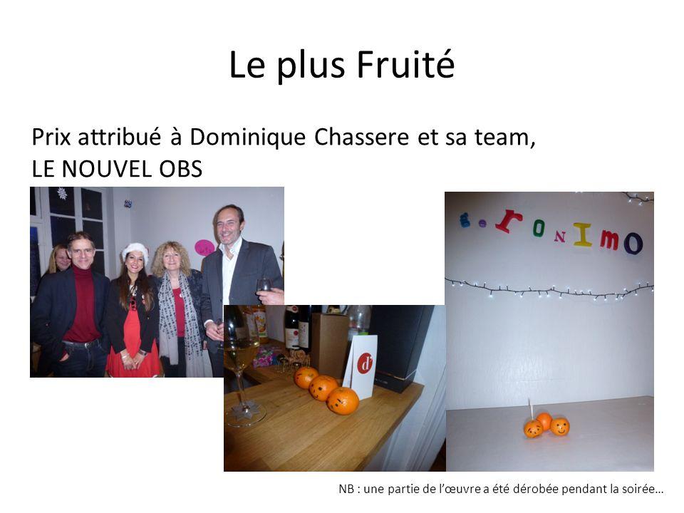 Le plus Fruité Prix attribué à Dominique Chassere et sa team, LE NOUVEL OBS.