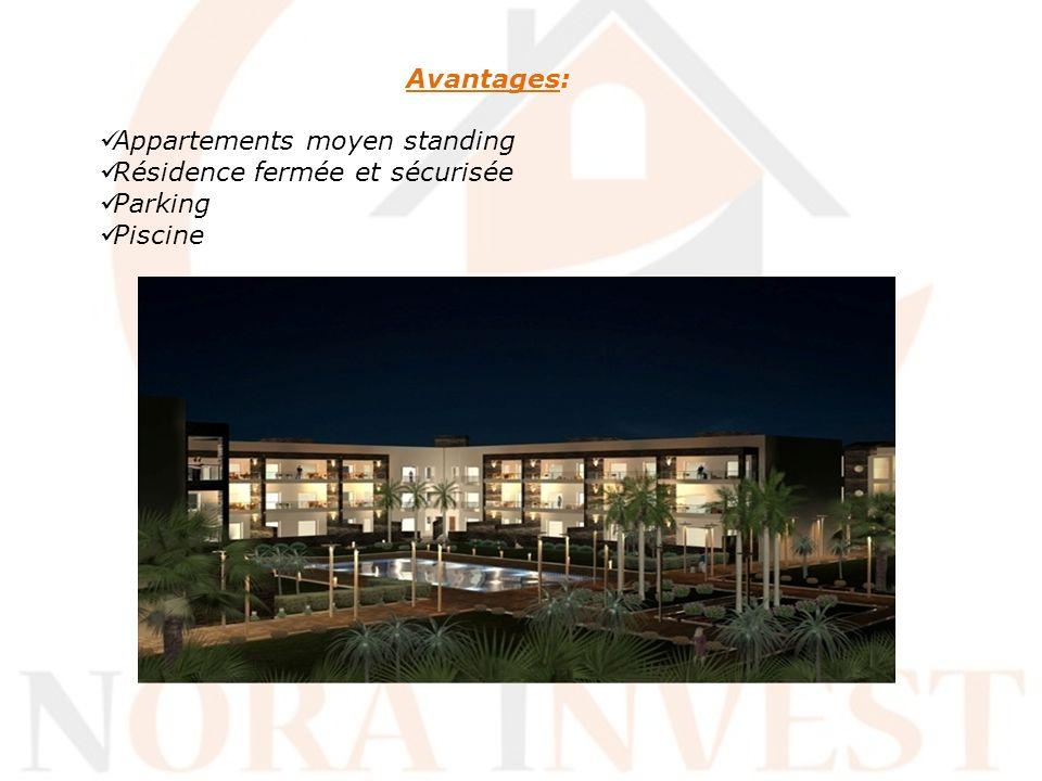 Avantages: Appartements moyen standing Résidence fermée et sécurisée Parking Piscine