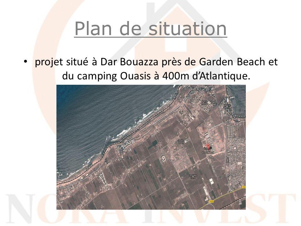 Plan de situation projet situé à Dar Bouazza près de Garden Beach et du camping Ouasis à 400m d'Atlantique.
