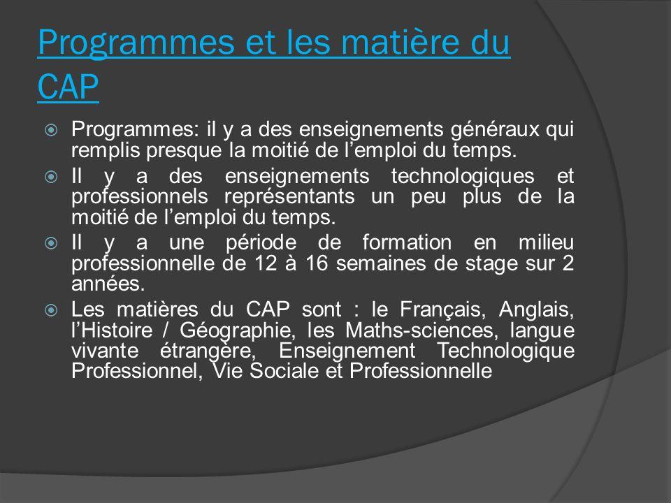 Programmes et les matière du CAP