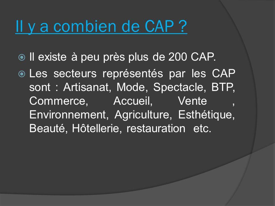 Il y a combien de CAP Il existe à peu près plus de 200 CAP.