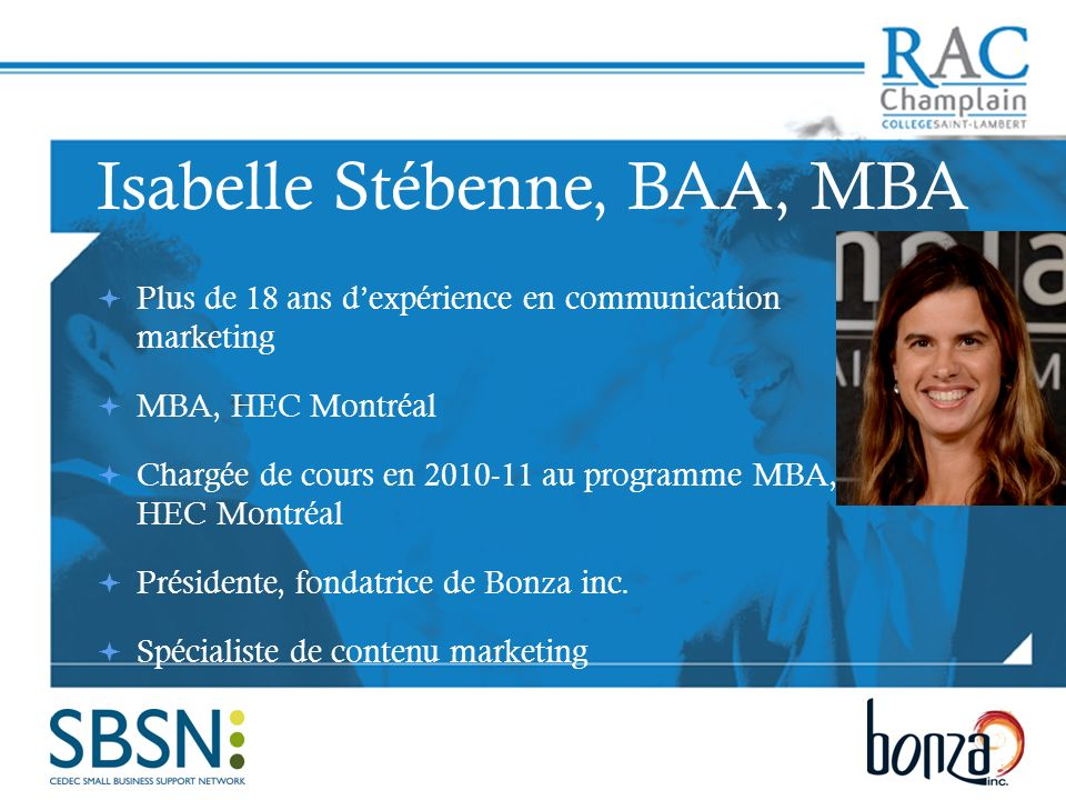 Isabelle Stébenne, BAA, MBA