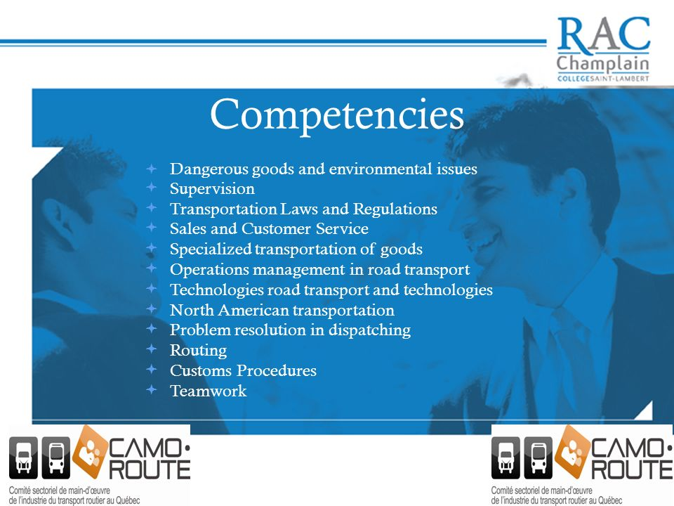 Competencies Dangerous goods and environmental issues Supervision