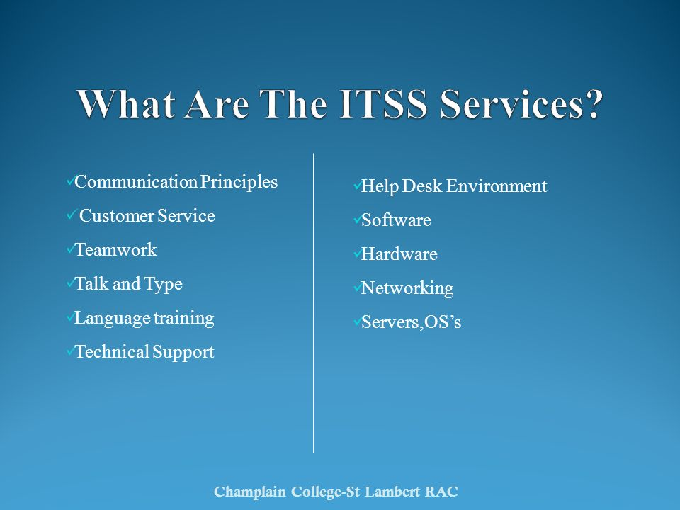 What Are The ITSS Services