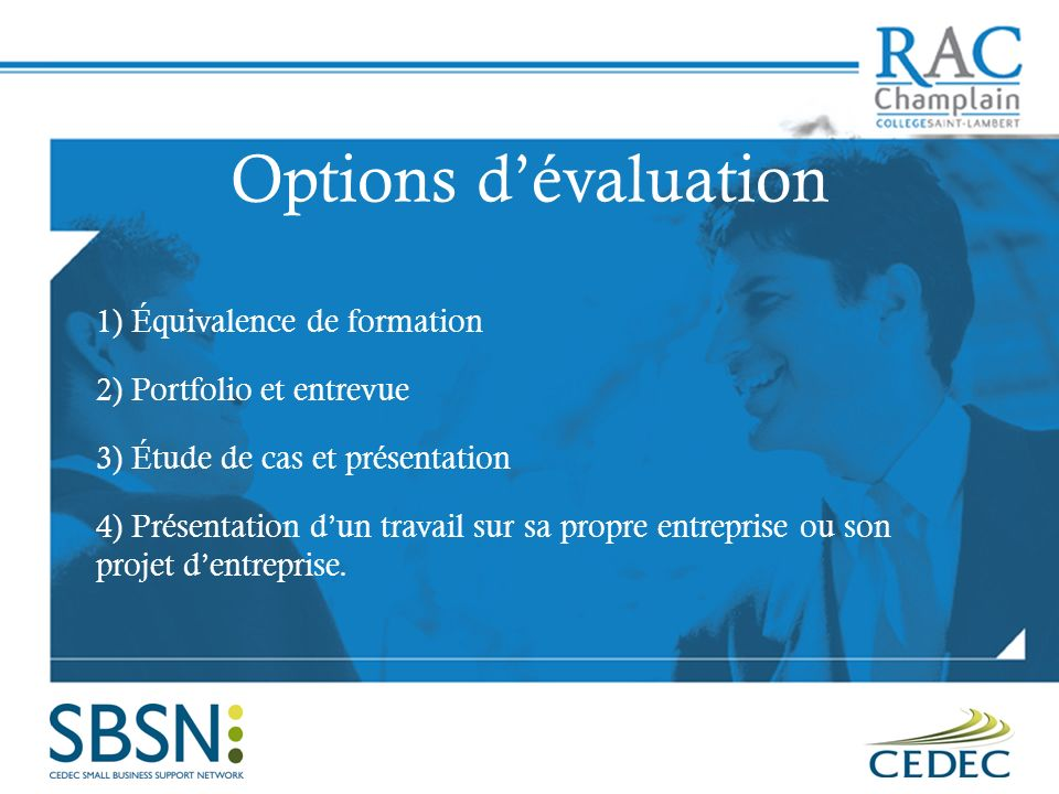 Options d'évaluation