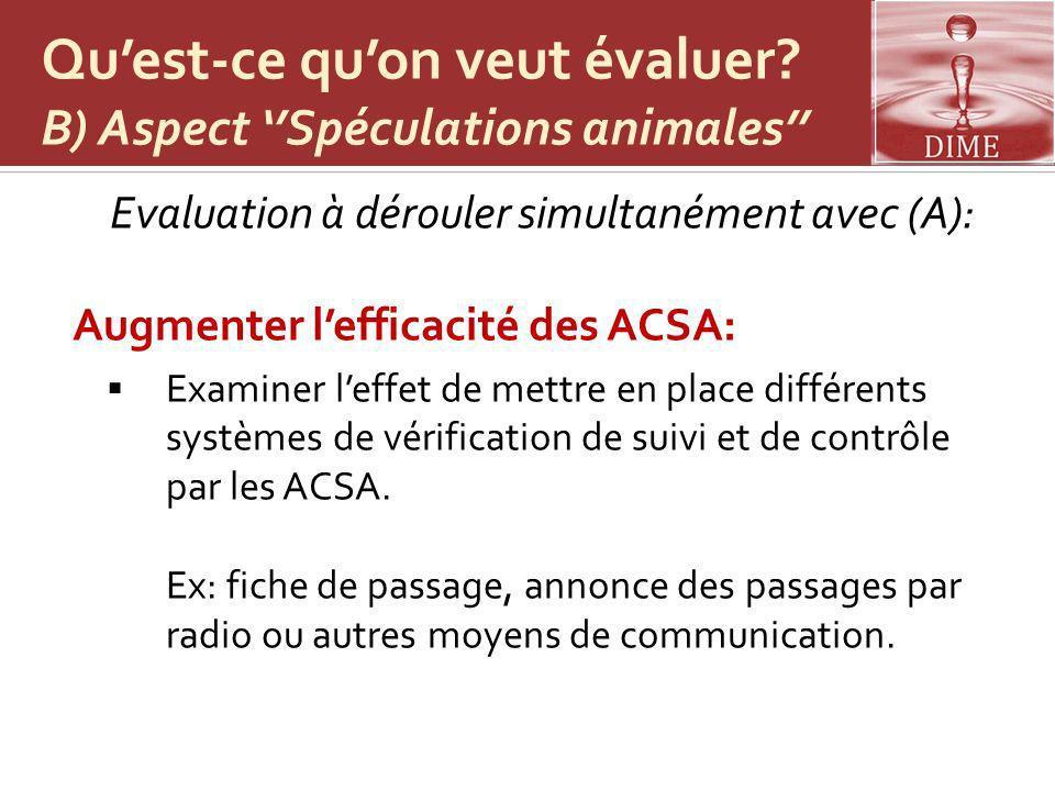 Qu'est-ce qu'on veut évaluer B) Aspect ''Spéculations animales''