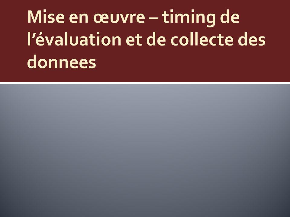 Mise en œuvre – timing de l'évaluation et de collecte des donnees
