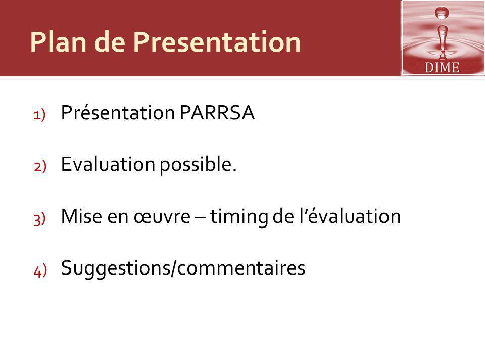 Plan de Presentation Présentation PARRSA Evaluation possible.
